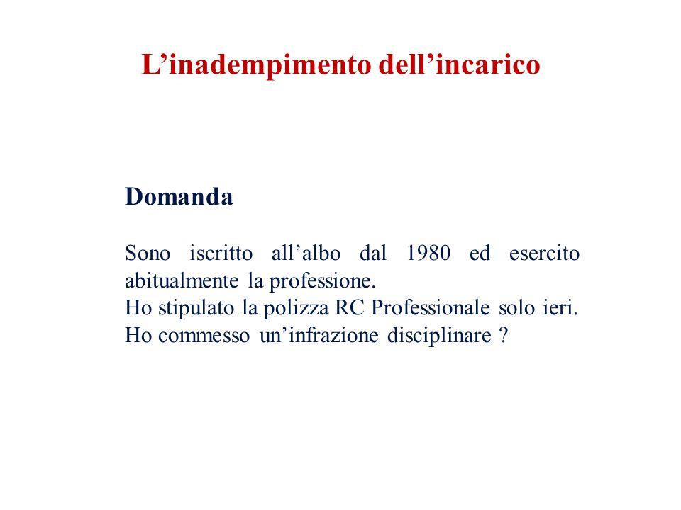 Domanda Sono iscritto allalbo dal 1980 ed esercito abitualmente la professione.