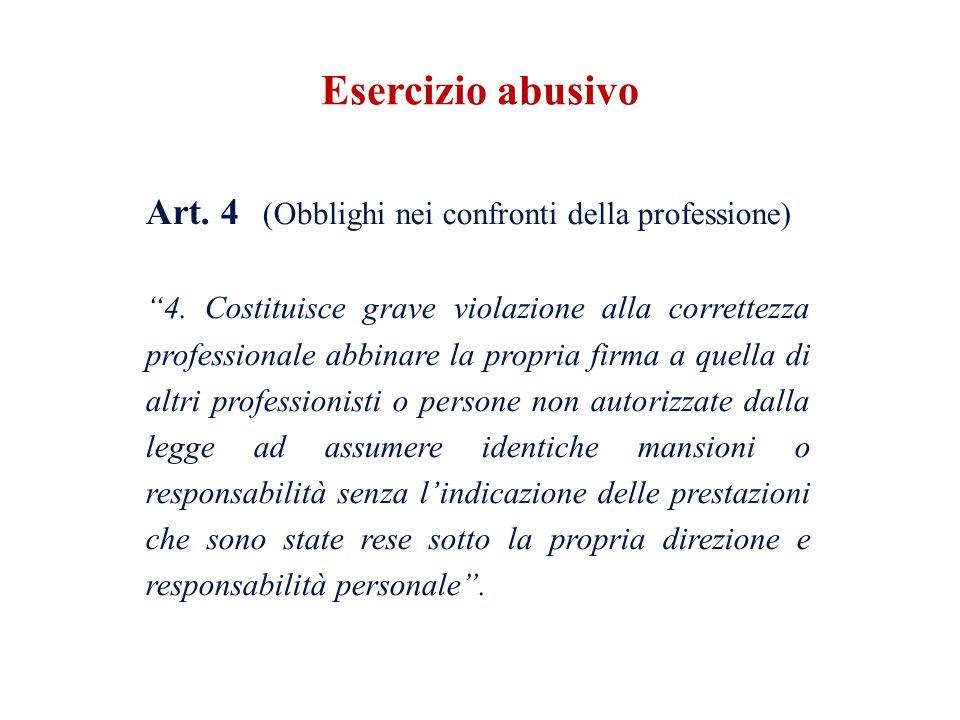 Art. 4 (Obblighi nei confronti della professione) 4. Costituisce grave violazione alla correttezza professionale abbinare la propria firma a quella di