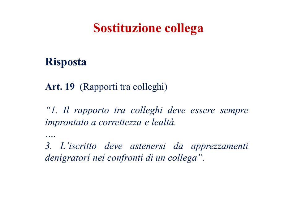 Risposta Art. 19 (Rapporti tra colleghi) 1. Il rapporto tra colleghi deve essere sempre improntato a correttezza e lealtà. …. 3. Liscritto deve astene
