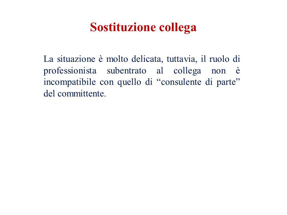 La situazione è molto delicata, tuttavia, il ruolo di professionista subentrato al collega non è incompatibile con quello di consulente di parte del c