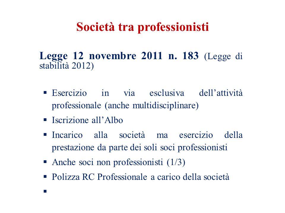 Società tra professionisti Legge 12 novembre 2011 n. 183 (Legge di stabilità 2012) Esercizio in via esclusiva dellattività professionale (anche multid
