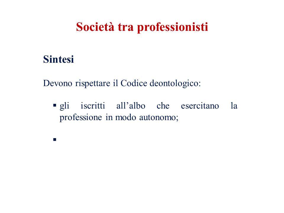 Sintesi Devono rispettare il Codice deontologico: gli iscritti allalbo che esercitano la professione in modo autonomo; Società tra professionisti