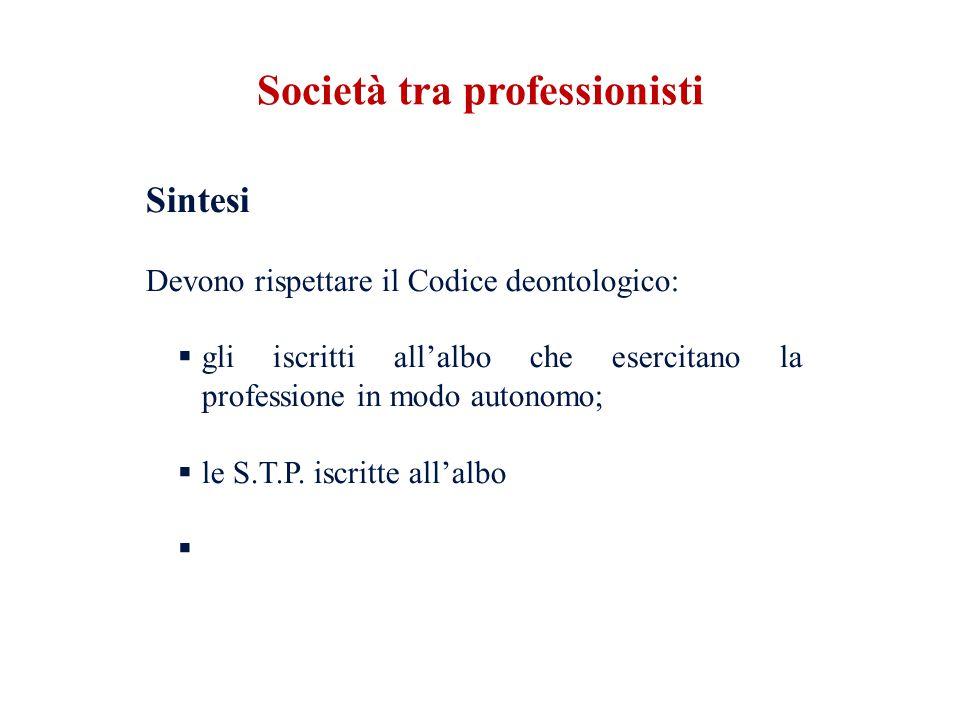 Sintesi Devono rispettare il Codice deontologico: gli iscritti allalbo che esercitano la professione in modo autonomo; le S.T.P. iscritte allalbo Soci