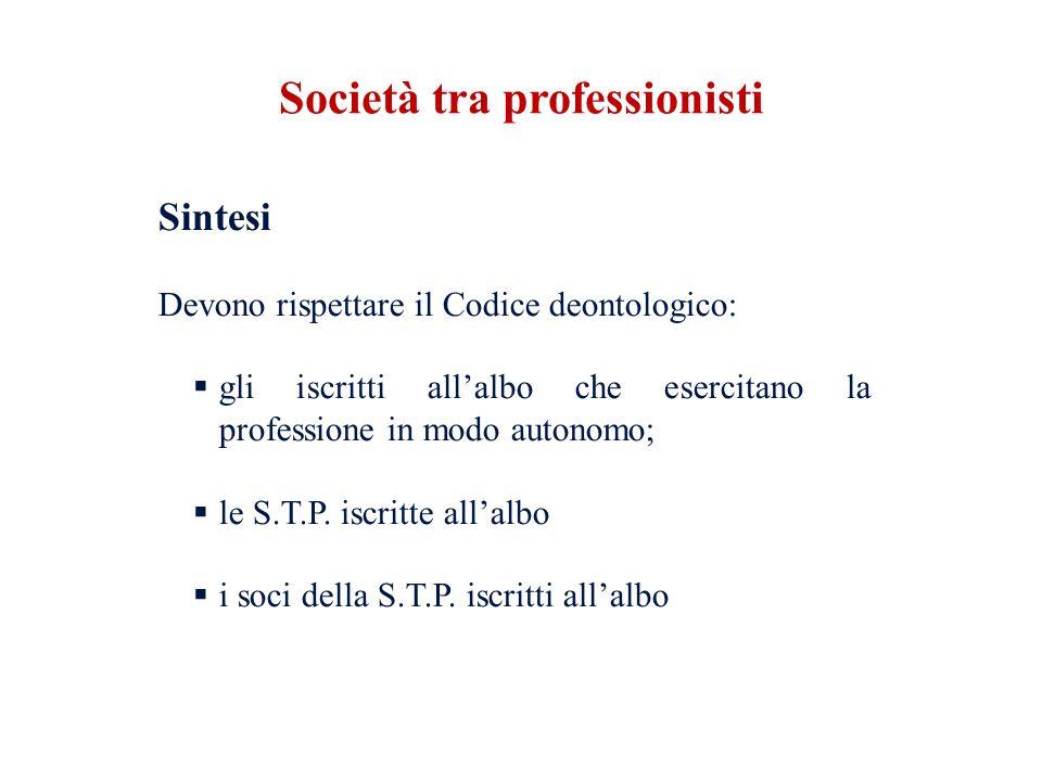 Sintesi Devono rispettare il Codice deontologico: gli iscritti allalbo che esercitano la professione in modo autonomo; le S.T.P. iscritte allalbo i so