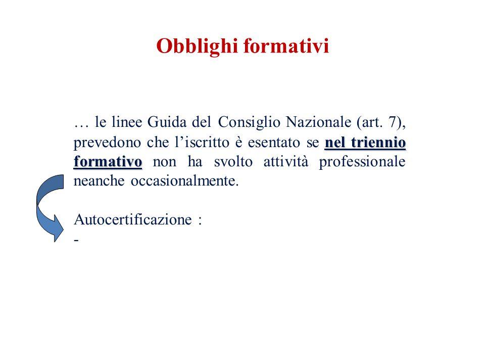 nel triennio formativo … le linee Guida del Consiglio Nazionale (art. 7), prevedono che liscritto è esentato se nel triennio formativo non ha svolto a