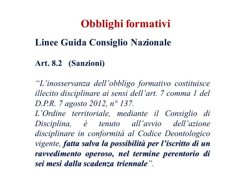Linee Guida Consiglio Nazionale Art. 8.2 (Sanzioni) Linosservanza dellobbligo formativo costituisce illecito disciplinare ai sensi dellart. 7 comma 1