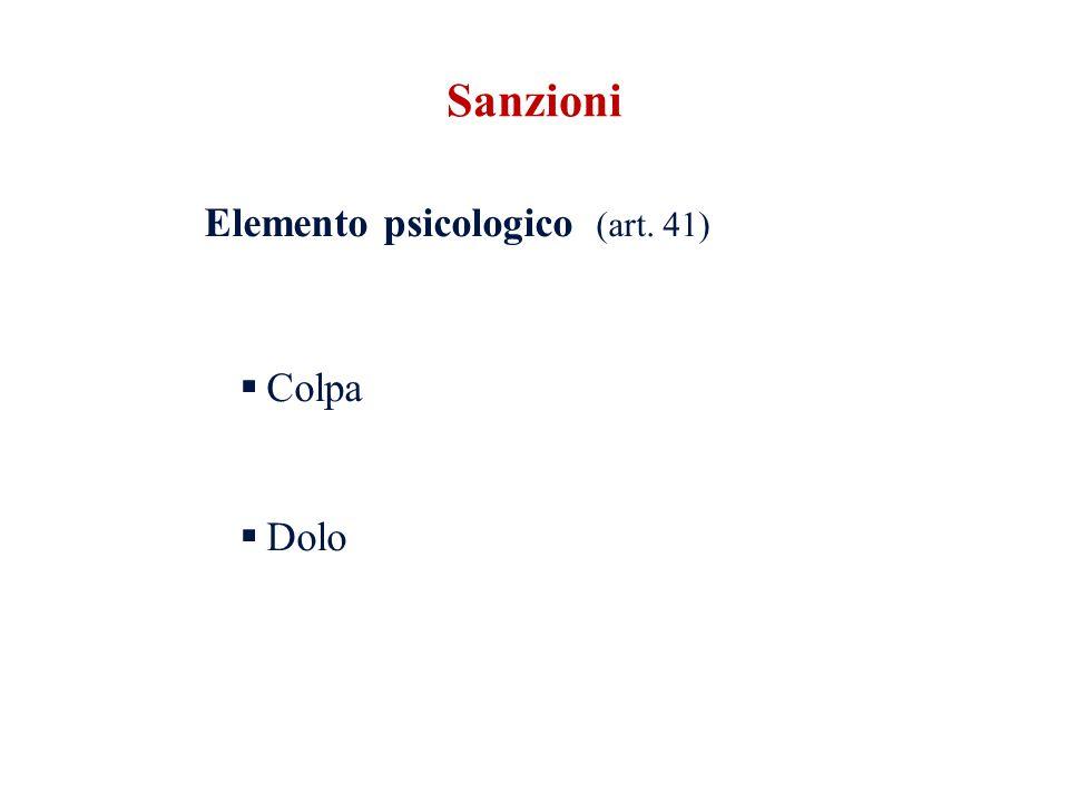Elemento psicologico (art. 41) Colpa Dolo Sanzioni
