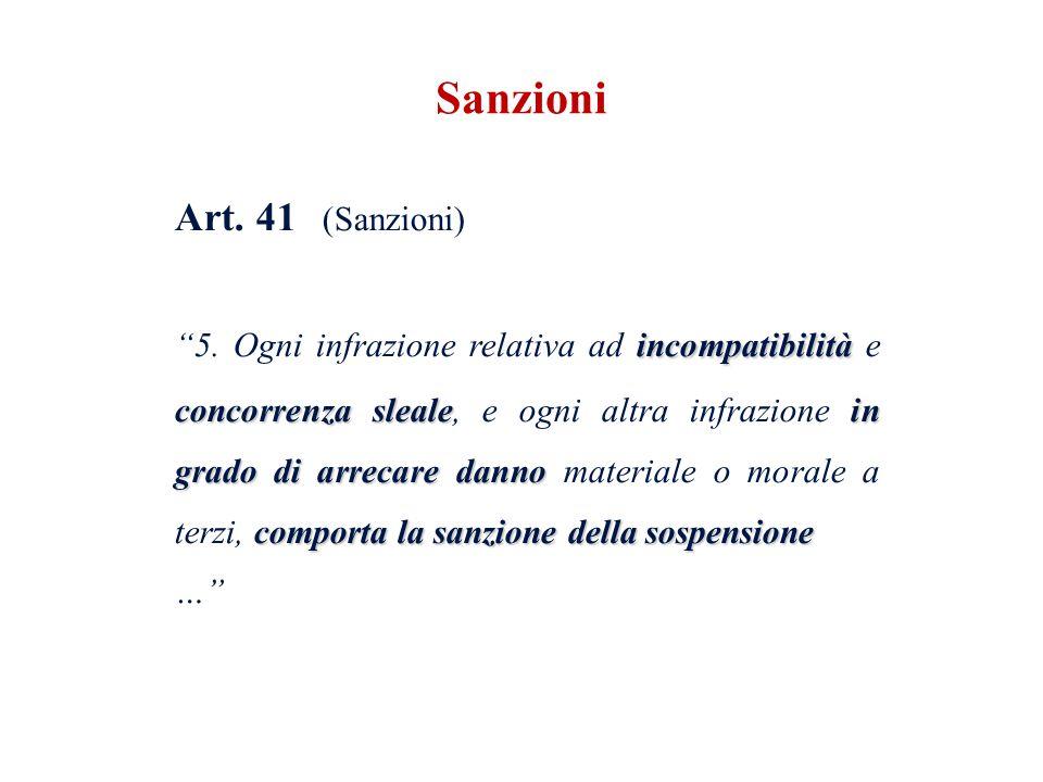 Art. 41 (Sanzioni) incompatibilità concorrenza slealein grado di arrecare danno comporta la sanzione della sospensione 5. Ogni infrazione relativa ad