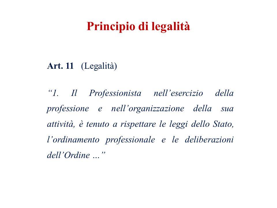 Art. 11 (Legalità) 1. Il Professionista nellesercizio della professione e nellorganizzazione della sua attività, è tenuto a rispettare le leggi dello