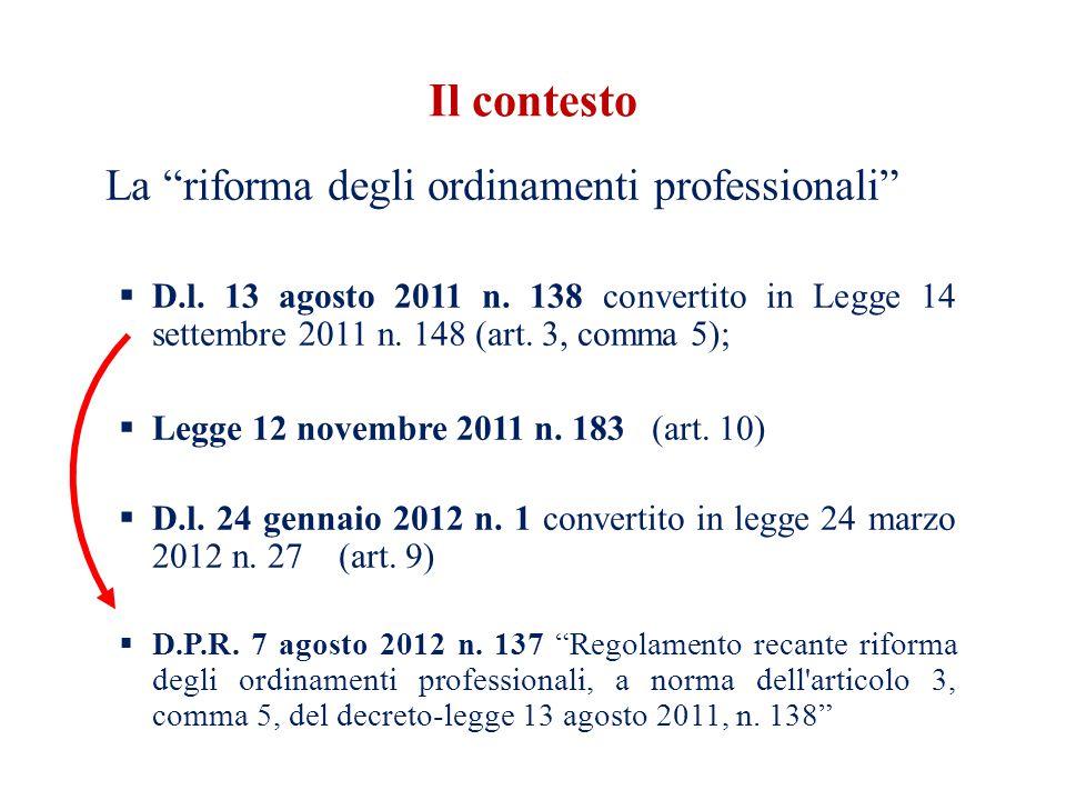 Il contesto La riforma degli ordinamenti professionali D.l. 13 agosto 2011 n. 138 convertito in Legge 14 settembre 2011 n. 148 (art. 3, comma 5); Legg