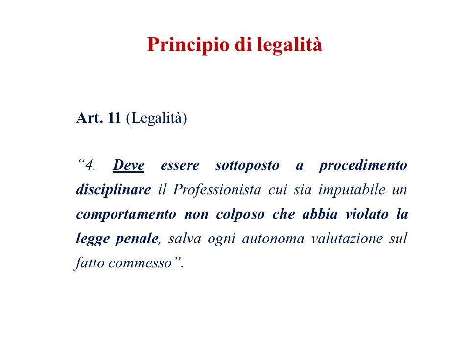 Art. 11 (Legalità) 4. Deve essere sottoposto a procedimento disciplinare il Professionista cui sia imputabile un comportamento non colposo che abbia v