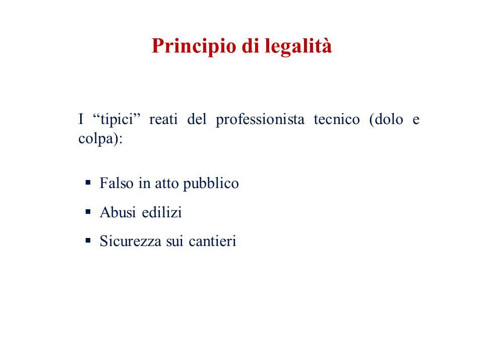 I tipici reati del professionista tecnico (dolo e colpa): Falso in atto pubblico Abusi edilizi Sicurezza sui cantieri Principio di legalità