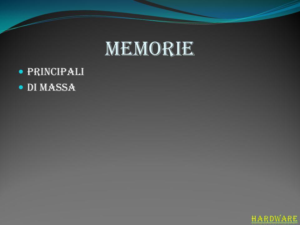 Memorie principali si dividono in : Ram (random acces memory) è la memoria che contiene i dai in corsodi esecuzione Rom (read only memory) contiene il programma che fa accendere il computer Cache svolge il compito di memorizzare temporaneamente i dati