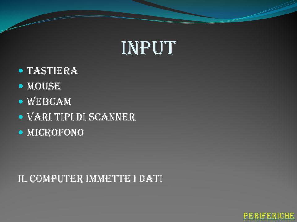 input Tastiera Mouse Webcam Vari tipi di scanner Microfono Il computer immette i dati
