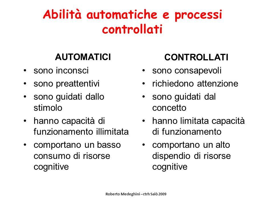 Abilità automatiche e processi controllati AUTOMATICI sono inconsci sono preattentivi sono guidati dallo stimolo hanno capacità di funzionamento illim