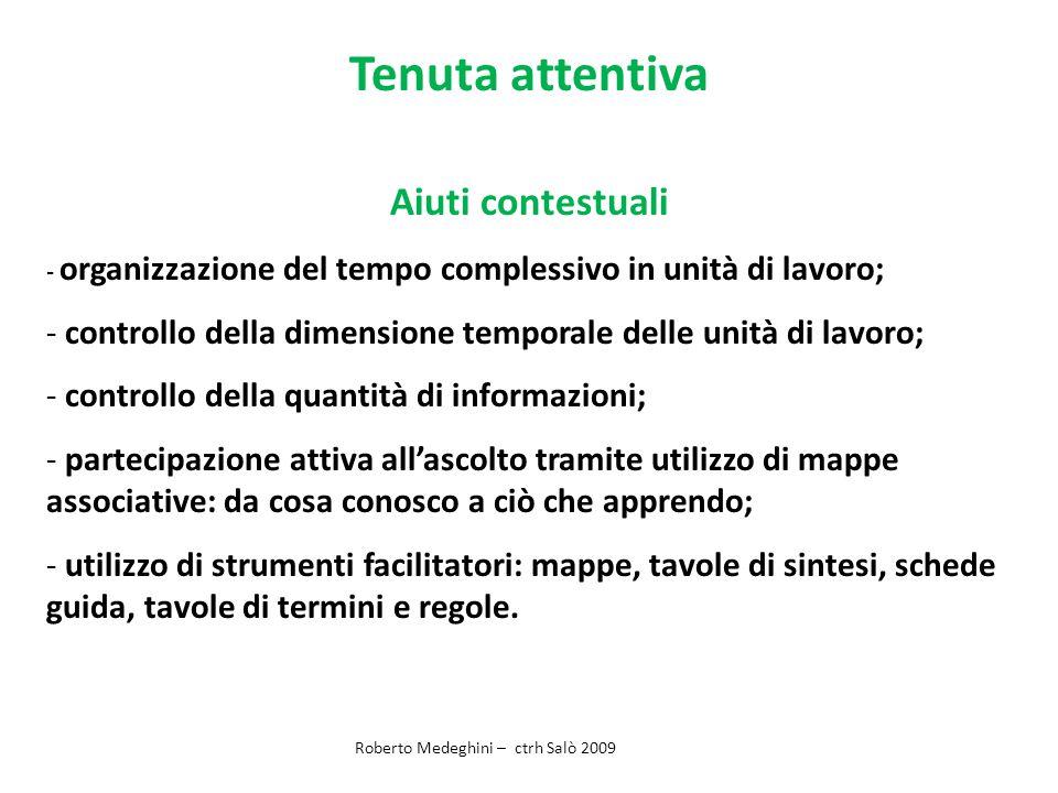 Tenuta attentiva Aiuti contestuali - organizzazione del tempo complessivo in unità di lavoro; - controllo della dimensione temporale delle unità di la