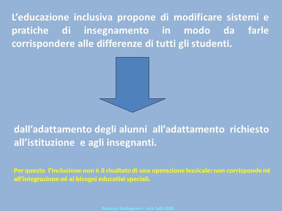 Leducazione inclusiva propone di modificare sistemi e pratiche di insegnamento in modo da farle corrispondere alle differenze di tutti gli studenti. R