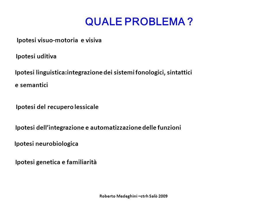 QUALE PROBLEMA ? Ipotesi visuo-motoria e visiva Ipotesi uditiva Ipotesi linguistica:integrazione dei sistemi fonologici, sintattici e semantici Ipotes