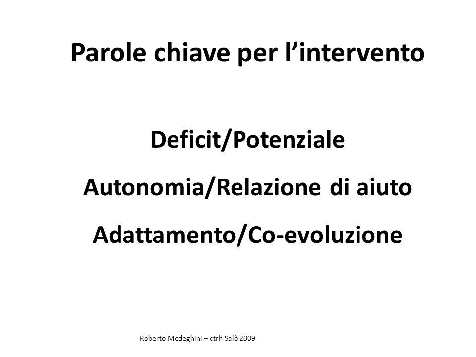 Parole chiave per lintervento Deficit/Potenziale Autonomia/Relazione di aiuto Adattamento/Co-evoluzione Roberto Medeghini – ctrh Salò 2009