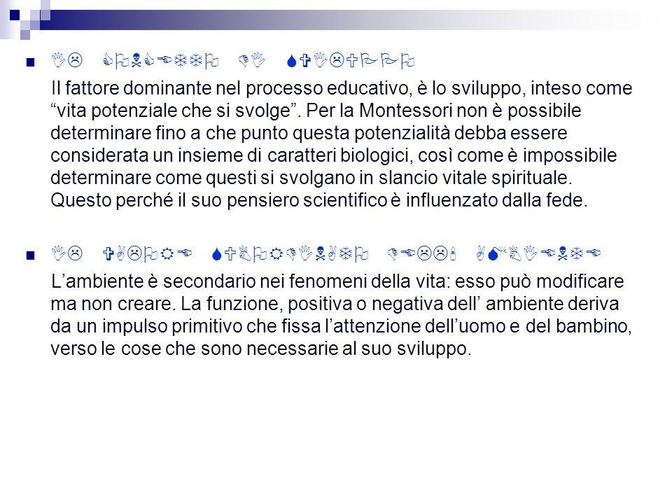 IL CONCETTO DI SVILUPPO Il fattore dominante nel processo educativo, è lo sviluppo, inteso come vita potenziale che si svolge.