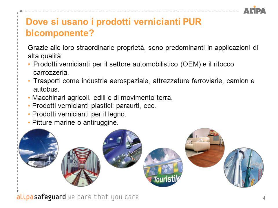 4 Dove si usano i prodotti vernicianti PUR bicomponente? Grazie alle loro straordinarie proprietà, sono predominanti in applicazioni di alta qualità: