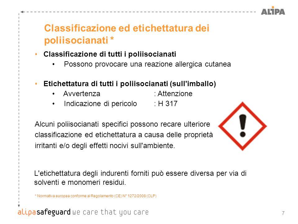8 Poliisocianati alifatici Poliisocianati - non dovrebbero essere sicuri.