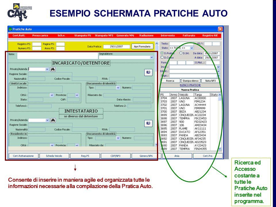 Consente di inserire in maniera agile ed organizzata tutte le informazioni necessarie alla compilazione della Pratica Auto. Ricerca ed Accesso costant
