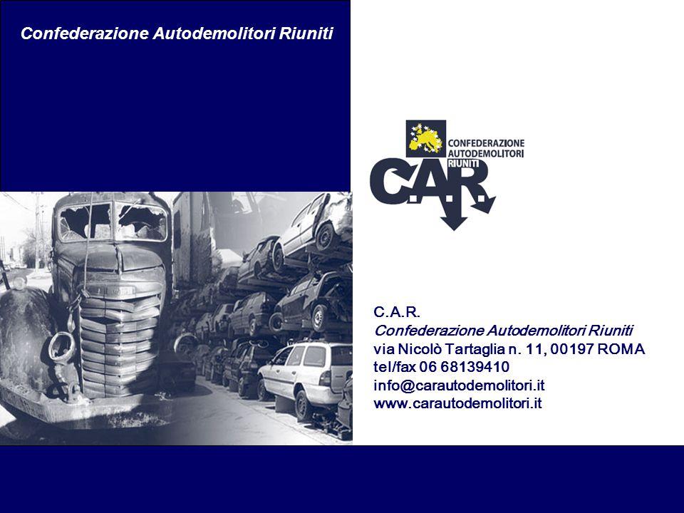 Confederazione Autodemolitori Riuniti C.A.R. Confederazione Autodemolitori Riuniti via Nicolò Tartaglia n. 11, 00197 ROMA tel/fax 06 68139410 info@car