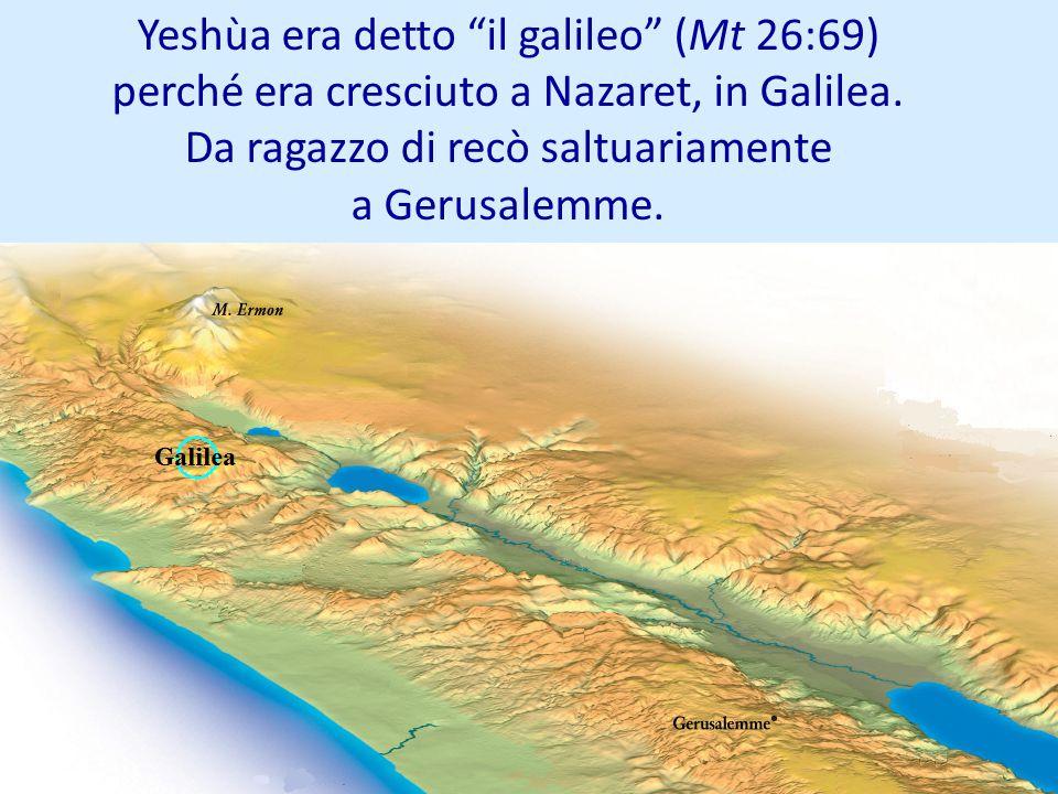 Yeshùa era detto il galileo (Mt 26:69) perché era cresciuto a Nazaret, in Galilea. Da ragazzo di recò saltuariamente a Gerusalemme.