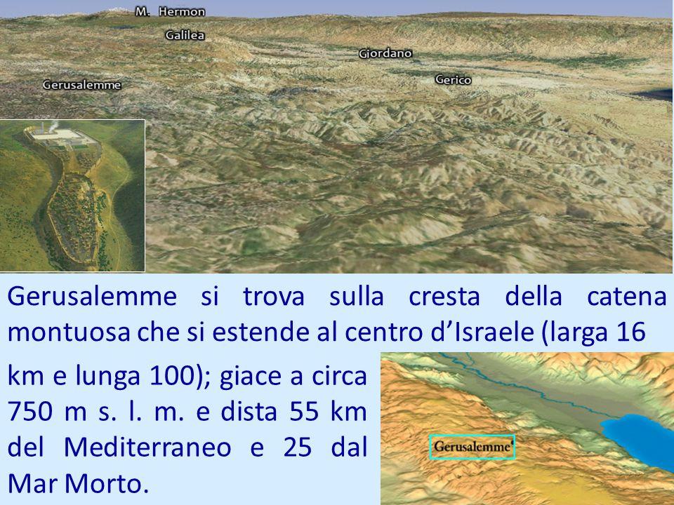 Gerusalemme si trova sulla cresta della catena montuosa che si estende al centro dIsraele (larga 16 km e lunga 100); giace a circa 750 m s. l. m. e di