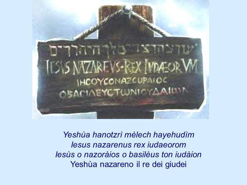 Yeshùa hanotzrì mèlech hayehudìm Iesus nazarenus rex iudaeorom Iesùs o nazoràios o basilèus ton iudàion Yeshùa nazareno il re dei giudei