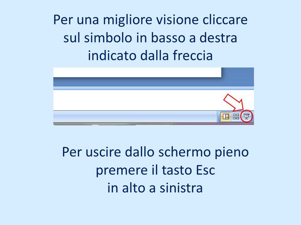Per una migliore visione cliccare sul simbolo in basso a destra indicato dalla freccia Per uscire dallo schermo pieno premere il tasto Esc in alto a s