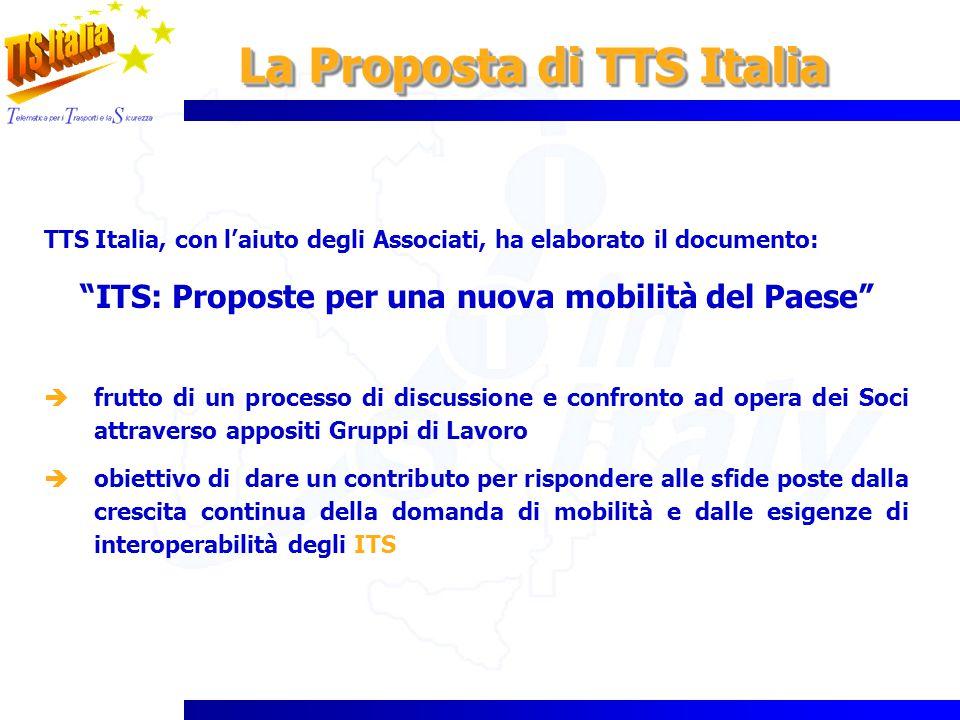 La Proposta di TTS Italia TTS Italia, con laiuto degli Associati, ha elaborato il documento: ITS: Proposte per una nuova mobilità del Paese frutto di