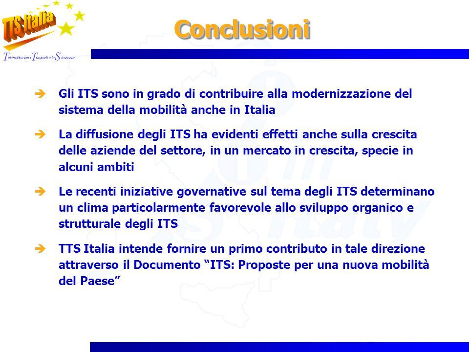 ConclusioniConclusioni Gli ITS sono in grado di contribuire alla modernizzazione del sistema della mobilità anche in Italia La diffusione degli ITS ha