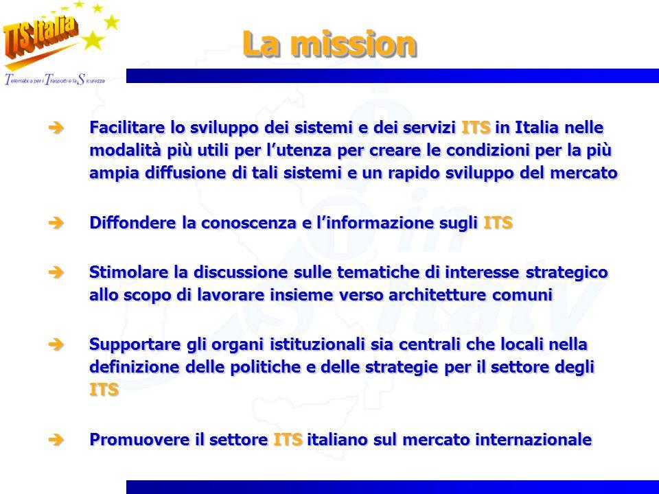 Facilitare lo sviluppo dei sistemi e dei servizi ITS in Italia nelle modalità più utili per lutenza per creare le condizioni per la più ampia diffusio