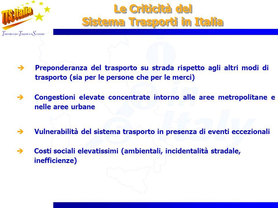 Le Criticità del Sistema Trasporti in Italia Le Criticità del Sistema Trasporti in Italia Preponderanza del trasporto su strada rispetto agli altri mo