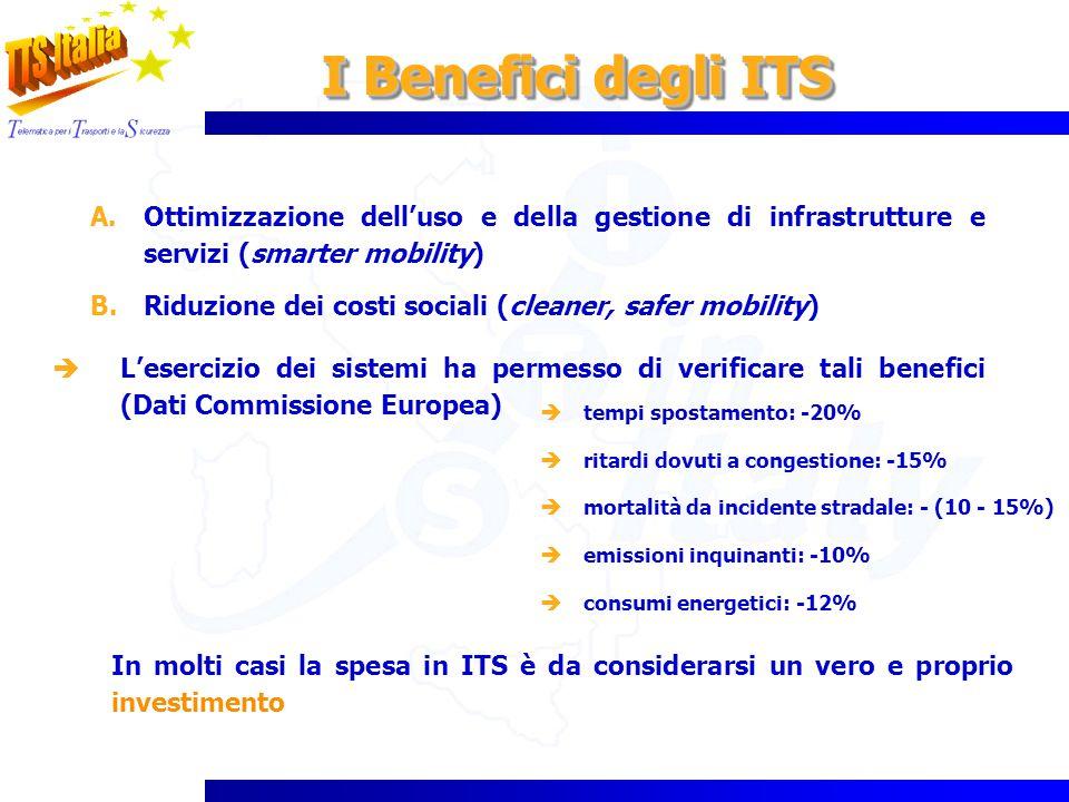 I Benefici degli ITS A.Ottimizzazione delluso e della gestione di infrastrutture e servizi (smarter mobility) B.Riduzione dei costi sociali (cleaner,