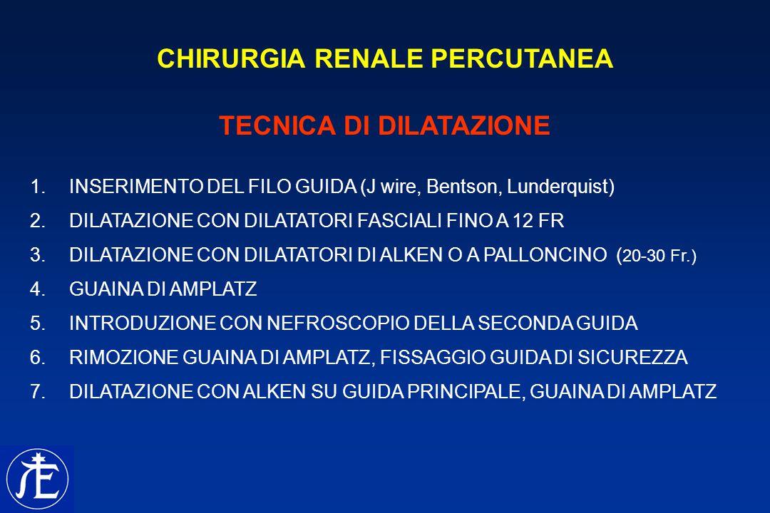 CHIRURGIA RENALE PERCUTANEA TECNICA DI DILATAZIONE 1. INSERIMENTO DEL FILO GUIDA (J wire, Bentson, Lunderquist) 2. DILATAZIONE CON DILATATORI FASCIALI
