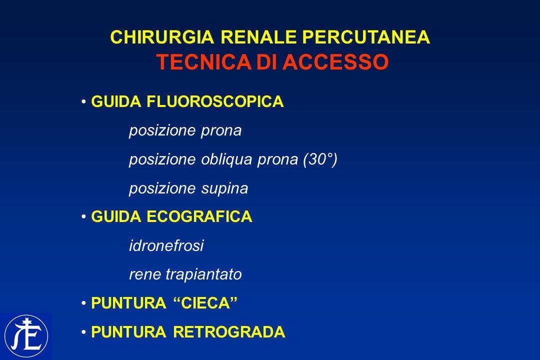 CHIRURGIA RENALE PERCUTANEA TECNICA DI ACCESSO GUIDA FLUOROSCOPICA posizione prona posizione obliqua prona (30°) posizione supina GUIDA ECOGRAFICA idr
