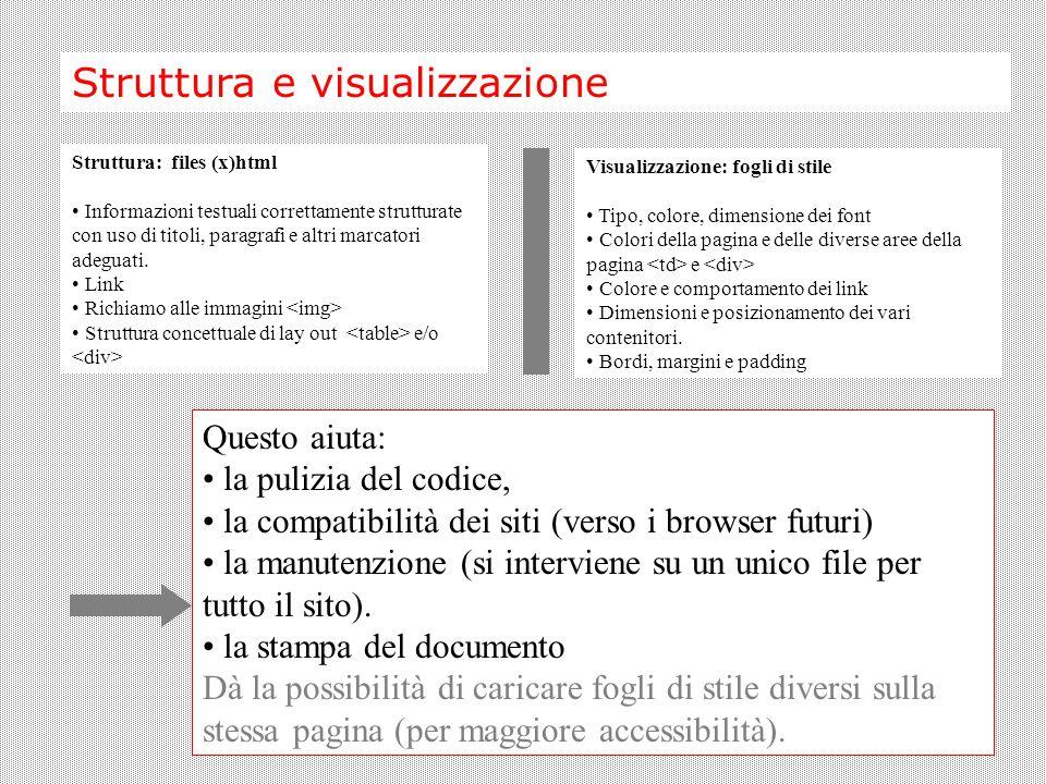 Struttura e visualizzazione Struttura: files (x)html Informazioni testuali correttamente strutturate con uso di titoli, paragrafi e altri marcatori adeguati.