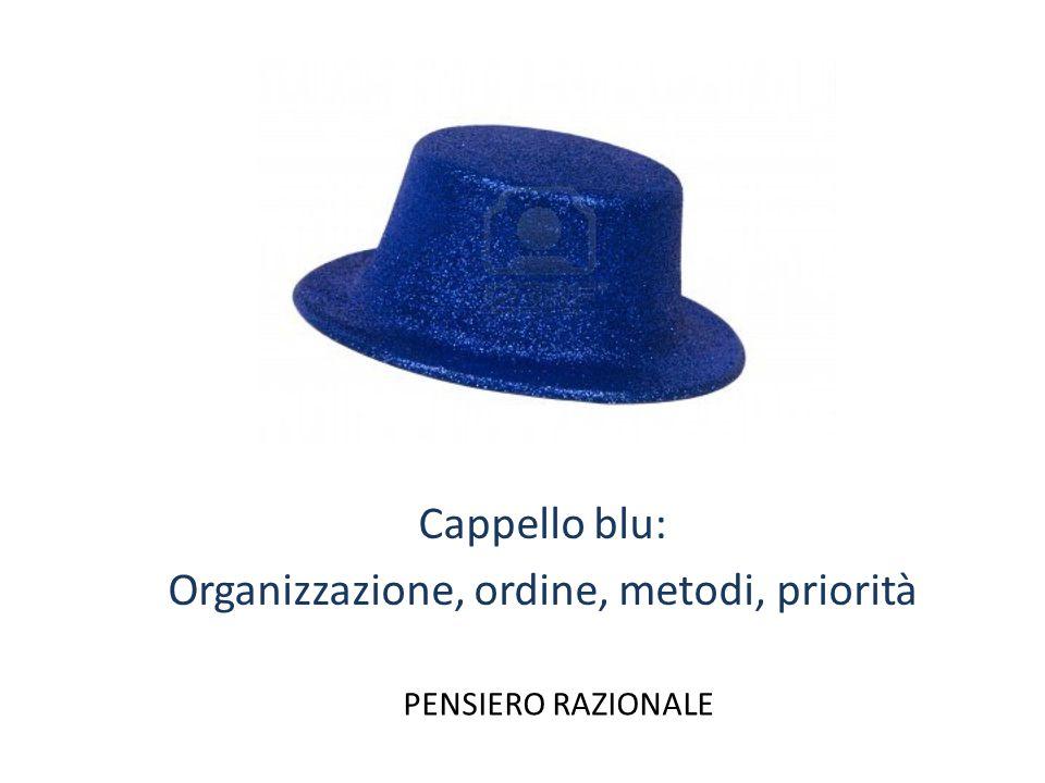 Cappello blu: Organizzazione, ordine, metodi, priorità PENSIERO RAZIONALE