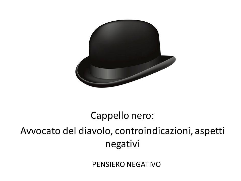 Cappello nero: Avvocato del diavolo, controindicazioni, aspetti negativi PENSIERO NEGATIVO