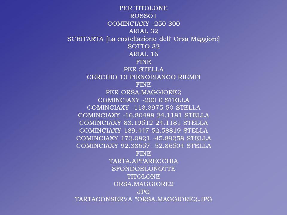 PER TITOLONE ROSSO1 COMINCIAXY -250 300 ARIAL 32 SCRITARTA [La costellazione dell' Orsa Maggiore] SOTTO 32 ARIAL 16 FINE PER STELLA CERCHIO 10 PIENOBI