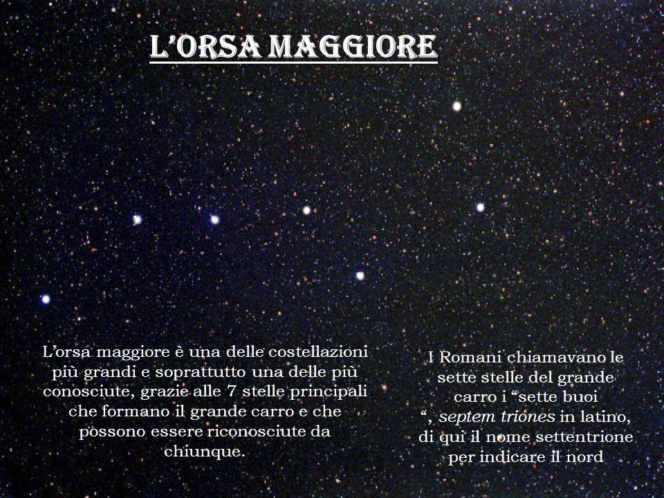 LORSA MAGGIORE Lorsa maggiore è una delle costellazioni più grandi e soprattutto una delle più conosciute, grazie alle 7 stelle principali che formano