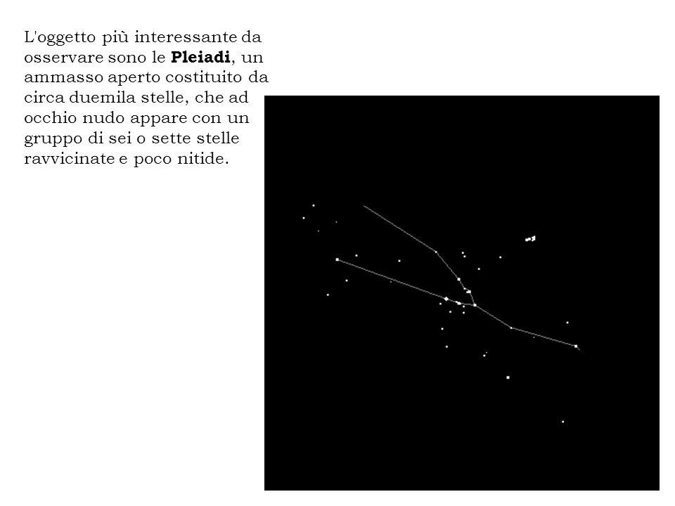 L'oggetto più interessante da osservare sono le Pleiadi, un ammasso aperto costituito da circa duemila stelle, che ad occhio nudo appare con un gruppo