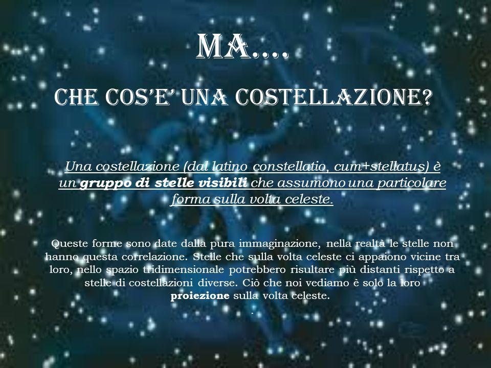 MA…. CHE COSE UNA COSTELLAZIONE? Una costellazione (dal latino constellatio, cum+stellatus) è un gruppo di stelle visibili che assumono una particolar