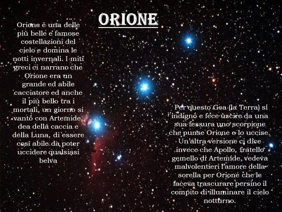 Orione Per questo Gea (la Terra) si indignò e fece uscire da una sua fessura uno scorpione che punse Orione e lo uccise. Unaltra versione ci dice inve