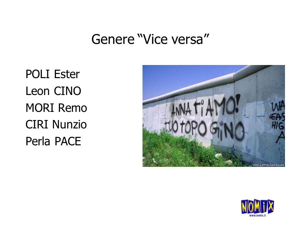 Genere Vice versa POLI Ester Leon CINO MORI Remo CIRI Nunzio Perla PACE
