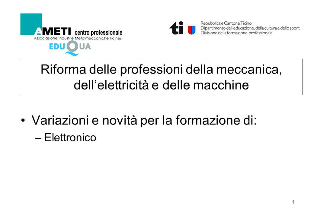 1 Riforma delle professioni della meccanica, dellelettricità e delle macchine Variazioni e novità per la formazione di: –Elettronico