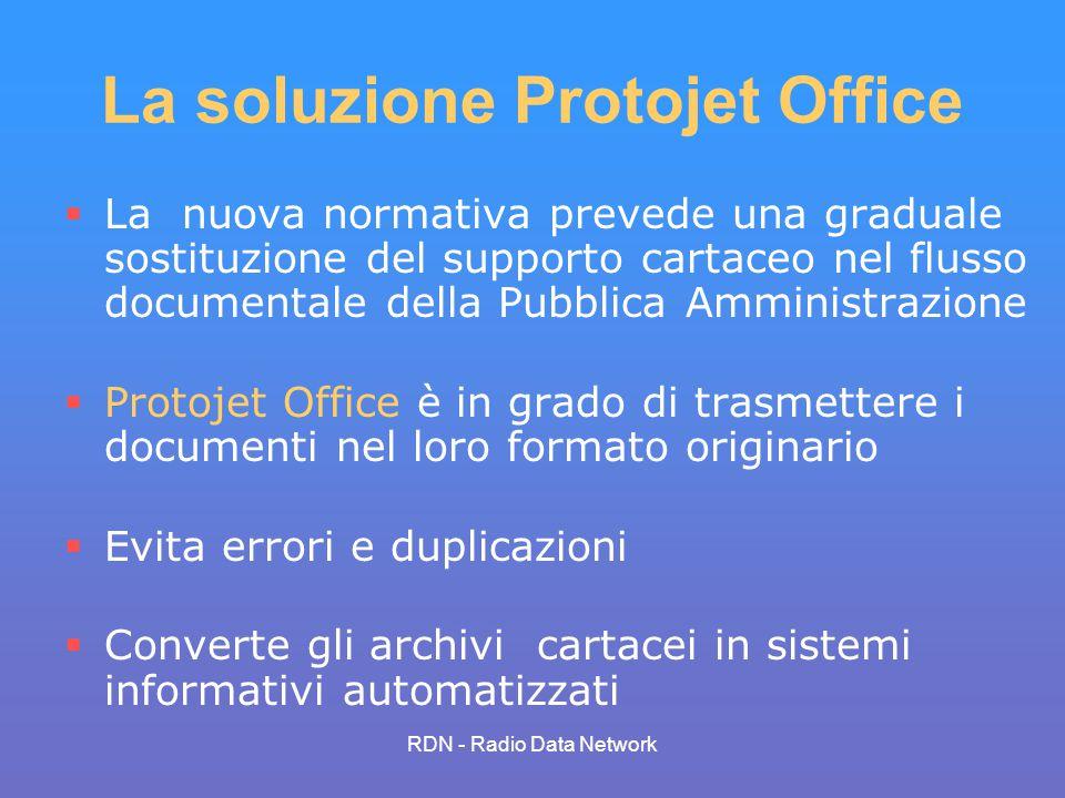 RDN - Radio Data Network La soluzione Protojet Office La nuova normativa prevede una graduale sostituzione del supporto cartaceo nel flusso documental